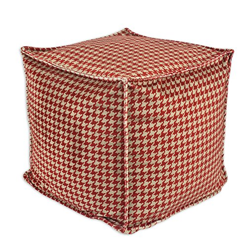 Brite Ideas Living Minky Hound Dog Square Seamed Pellet Hassock, 17-Inch, Tan/Red