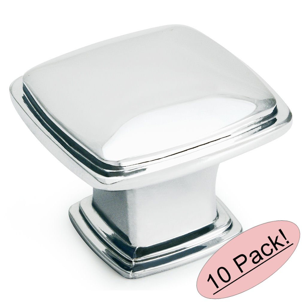 """Cosmas 4391CH Polished Chrome Modern Cabinet Hardware Knob - 1-1/4"""" Inch Square - 10 Pack"""