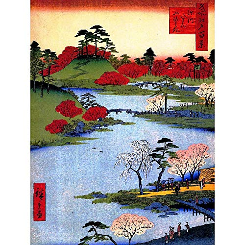 Wee Blue Coo Painting Japanese Woodblock Colourful Trees River Unframed Wall Art Print Poster Home Decor Premium