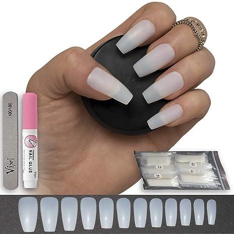 Amazon.com: 600 piezas de uñas postizas de coffin/bailarina ...