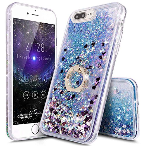 iPhone 7/8 Plus Case Girls with Stand,iPhone 8 Plus Clear Waterfall Case Ultra Thin Slim Bling Glitter Sparkle Quicksand Soft Case Cover with Ring Stand for Apple iPhone 7 Plus/iPhone 8 Plus (Blue)