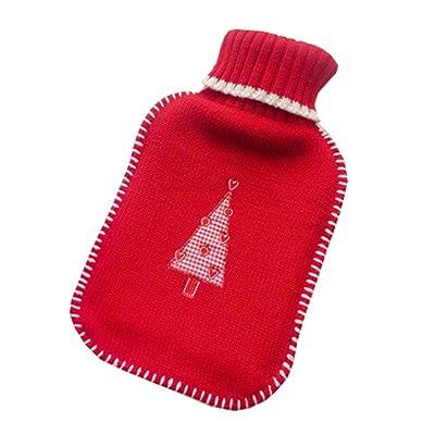 Bouteille d'eau chaude en caoutchouc classique avec couvercle rouge tricoté, 2 litres, arbre