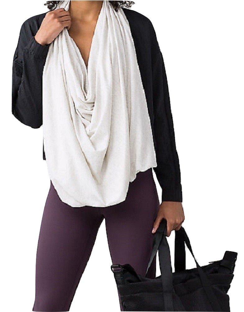 Lululemon Sage Scarf Wrap Cotton (Wee Stripe Heathered Light Grey White) by Lululemon