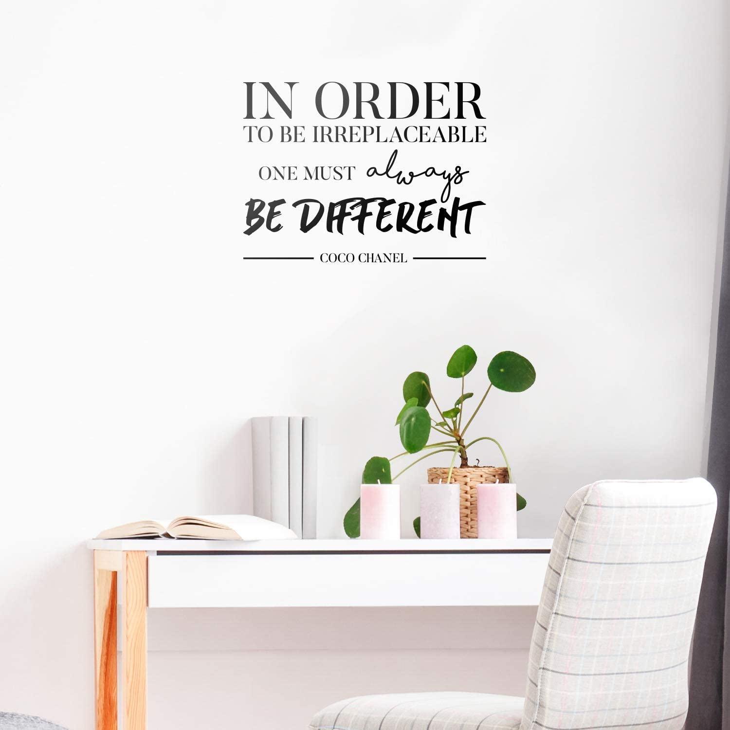"Vinyl Wall Art Decal - in Order to Be Irreplaceable One Must Be Different - 16"" x 22"" - Coco Chanel Inspirational Quote for Home Bedroom Living Room Office Work Apartment Decor (16"" x 22"", Black)"