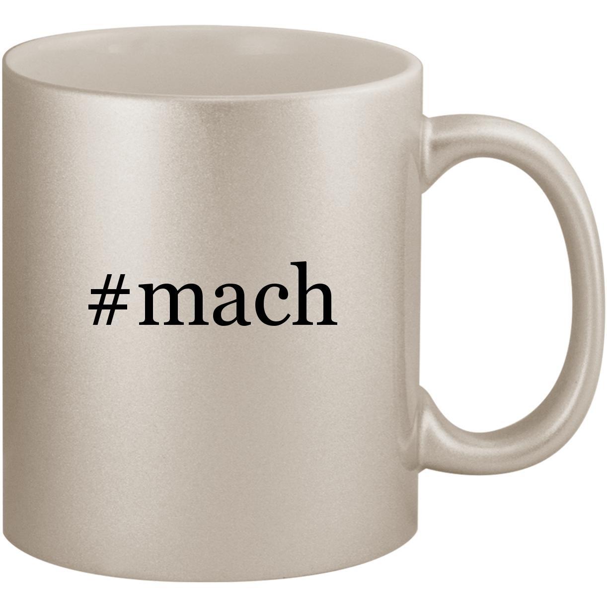 #mach - 11oz Ceramic Coffee Mug Cup, Silver