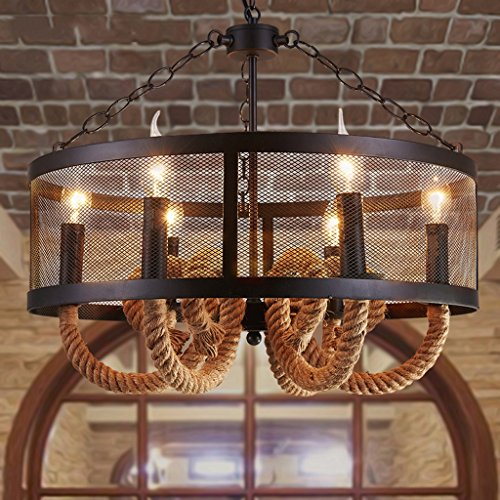 (Baycher American Creative Restaurant Hemp Rope Chandelier Retro Village Rural Iron Rural Iron Ceiling Pendant Lights Kitchen Farmhouse Bar Pendant Lamp with Six Heads)