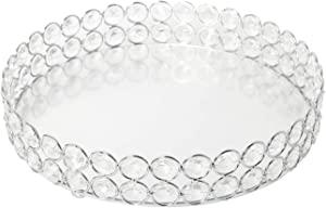 Homend Crystal Cosmetic Vanity Tray - Mirrored Decorative Jewelry Organizer Tray for Perfume, Trinket, Makeup Display Dresser Home Decor (Silver)