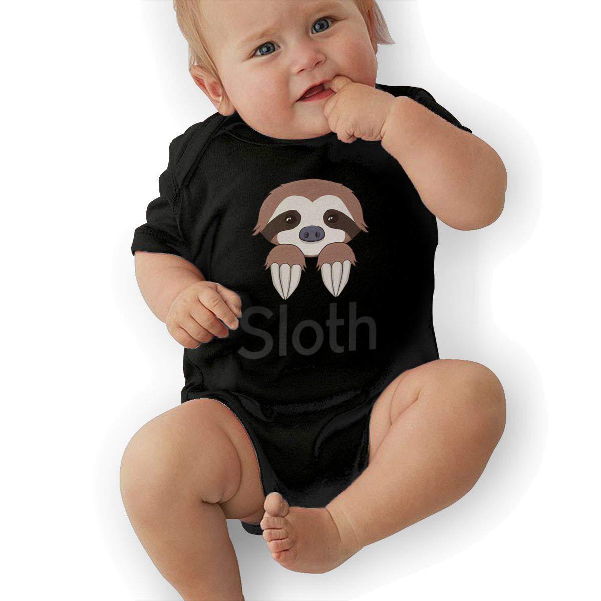 Dfenere Sloth Fashion Newborn Baby Short Sleeve Bodysuit Romper Infant Summer Clothing