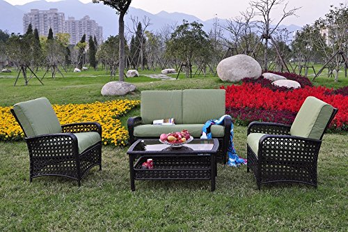 Odaof 4 Pc All Weather Sectional Outdoor Rattan Wicker Sofa Patio Furniture Set W/Cushions, Brown/Green