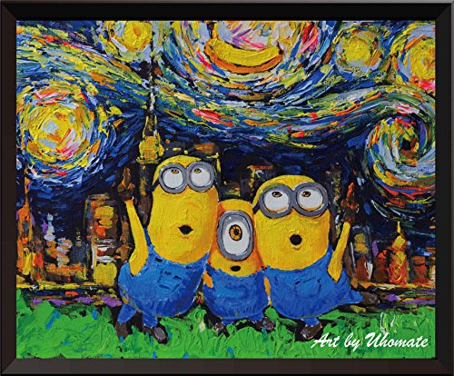 (Uhomate Vincent Van Gogh Starry Night Posters Minions Inspired Home Canvas Wall Art Anniversary Gifts Baby Gift Nursery Decor Living Room Wall Decor A010)