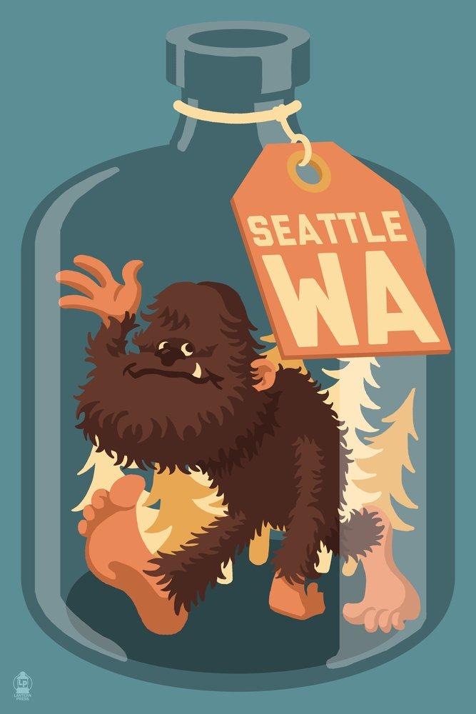 Bigfoot in aボトル – シアトル、ワシントン 36 x 54 Giclee Print LANT-54760-36x54 36 x 54 Giclee Print  B017E9TNIE