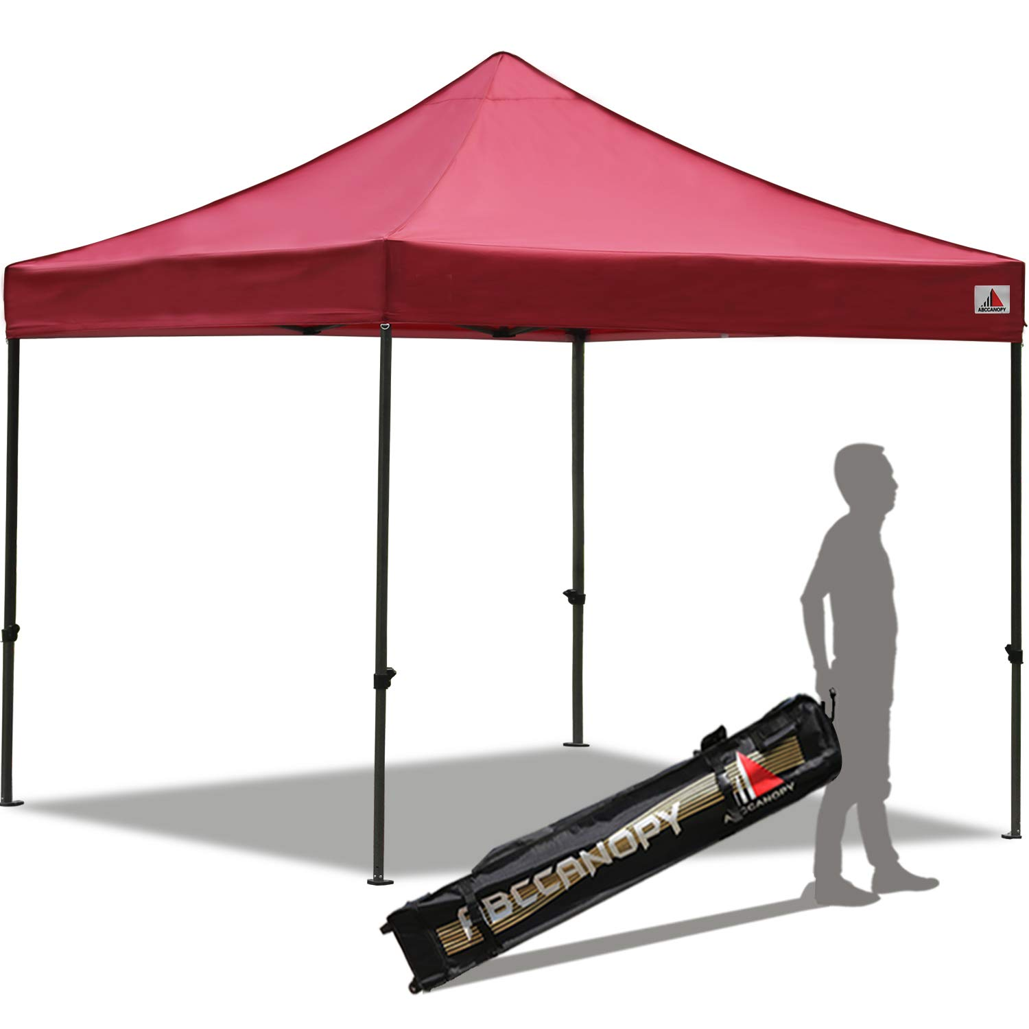 ABCCANOPY Pop up Canopy Tent Commercial Instant Shelter with Wheeled Carry Bag, 10x10 FT Burgundy