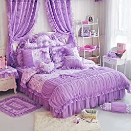 Sisbay Korean Rural Princess Purple Bedding,Delicate Floral Print Lace Duvet Cover,Baby Girl Fancy Ruffle Wedding Bed Skirt 6pcs, Twin