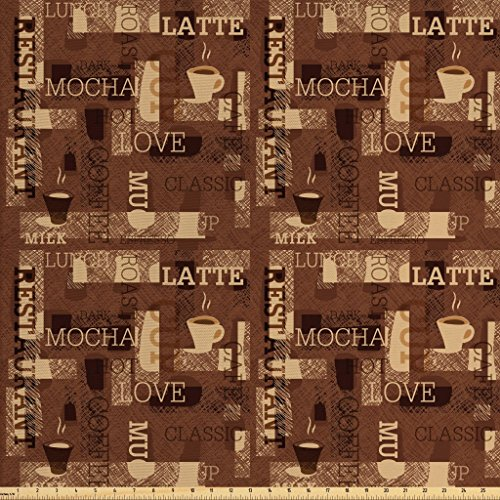 Ambesonne Coffee Fabric by The Yard, Cafeteria Pattern with Hot Mocha Latte Milk Love Typography on Scribble Backdrop, Decorative Fabric for Upholstery and Home Accents, 2 Yards, Brown Beige