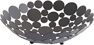 Meideli Fruit Basket,Round Iron Fruit Snack Tray Storage Organizer,Large Decorative Table Candy Bowl Basket for Home Decor,Bread Baskets,Food Baskets Black