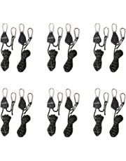 """CastleGreens 6 Pairs of 1/8"""" Rope LED Grow Light Hanger Ratchet 150lb Weight Capacity Adjustable Hook for Carbon Filter Hydroponic, Metal Internal Gears Hangers (UnitCount : 1-Pack 6pair)"""