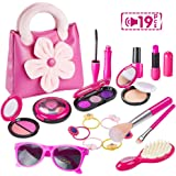 GiftInTheBox Pretend Makeup for Girls, Play Makeup Set with Pink Floral Tote Bag for Little Girls Age 3+, Great and Birthday Gift (Not Real Makeup)