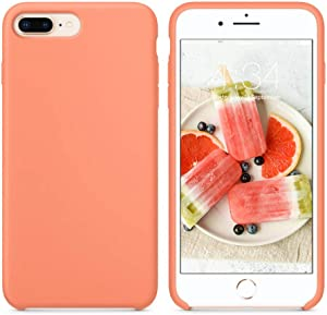 "SURPHY Silicone Case Compatible with iPhone 8 Plus Case iPhone 7 Plus Case, Soft Liquid Silicone Rubber Slim Phone Case Cover with Microfiber Lining for iPhone 7 Plus iPhone 8 Plus 5.5"", Peach"