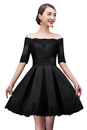 6be2e7051df8 Women Off the Shoulders Lace Sleeves Short Evening Gown Cocktail Dress ( Black