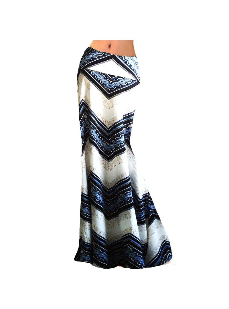 Monique Women Floral Print Maxi Skirts Summer Beach Floor Length Dress for Ladies Blue Ripple