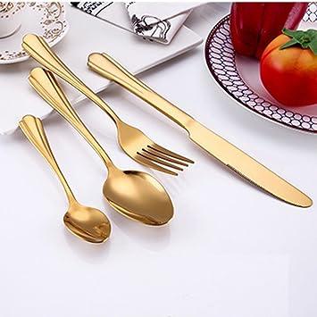 Juego de vajilla IGEMY 4 piezas de acero inoxidable Upscale vajilla cubiertos cubiertos tenedor cuchara cuchara cuchara cuchara dorado: Amazon.es: Hogar