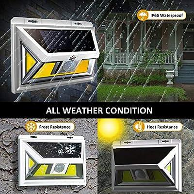 JUSLIT Solar Lights Outdoor, 74 COB LEDs Motion Sensor Light, 2 Modes Wireless Security Wall Lighting W/ 270° Wide Angle, IP65 Waterproof, for Front Door, Yard, Garage, Garden, Deck, Porch (4PK)