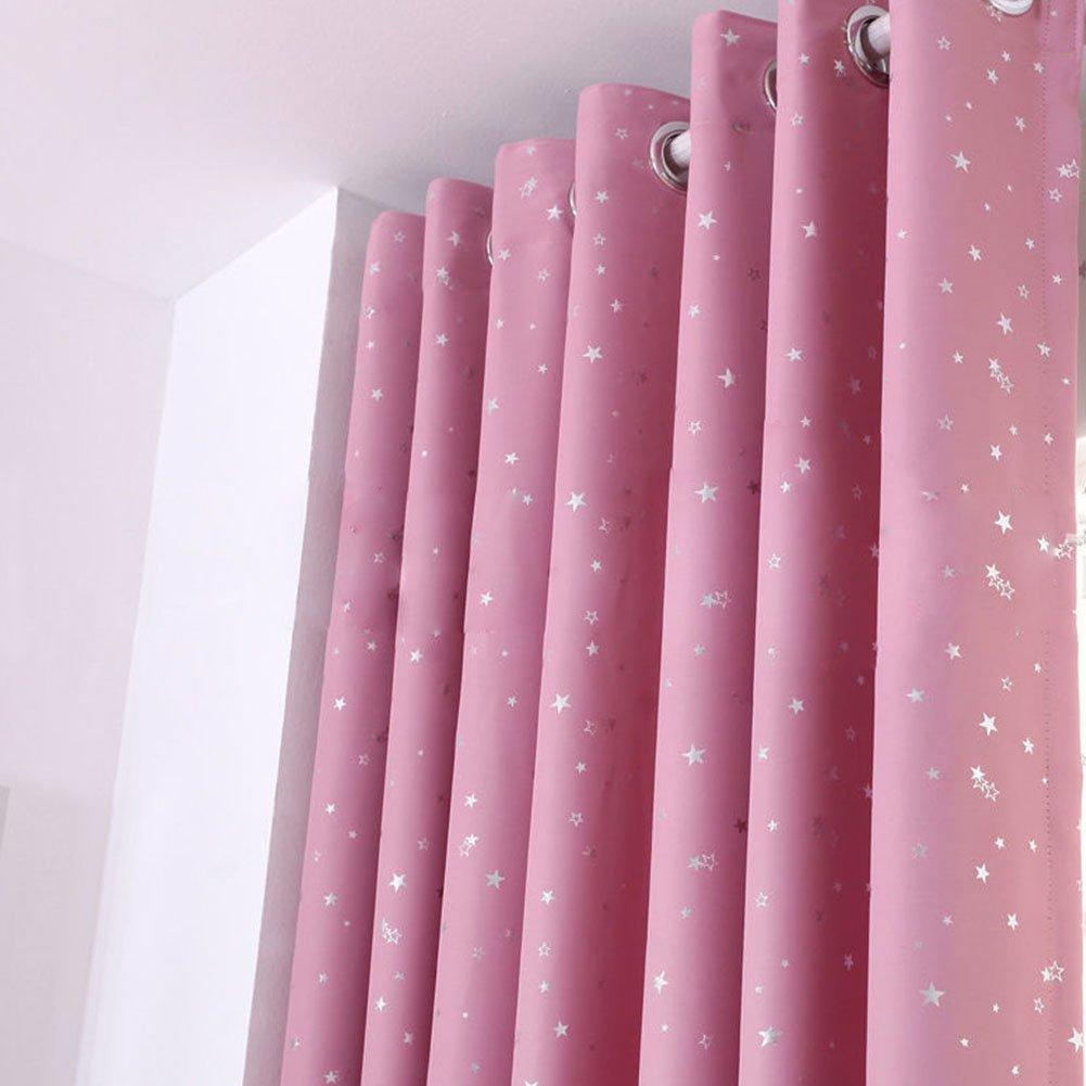 Tendine termico tende oscuranti con occhielli, Hinmay stelle tende per soggiorno per soggiorno camera da letto bagno tende (100*130cm, rosa)