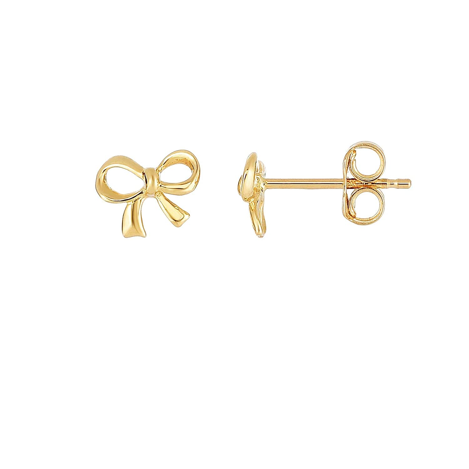 14K Yellow Gold Shiny 2x6.5x8mm Fancy Post Bow Shape Earrings with Push Back by IcedTime
