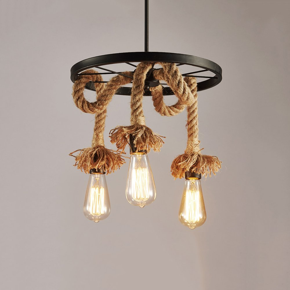 3-Lights or 6-Lights Industrial Retro Bamboo Hemp Rope Iron Chandelier Lamp Shade for Kitchen, Bar, Cafe, Restaurant (Size : Three Heads)