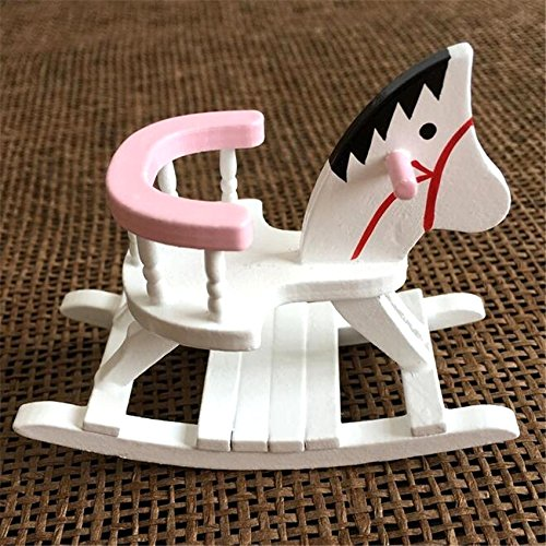EatingBiting(R) 1:12 Dollhouse Miniature Furniture Children Room Wooden Horse Rocking Chair , Can Shake , Child Memory Landscape , Worth to -