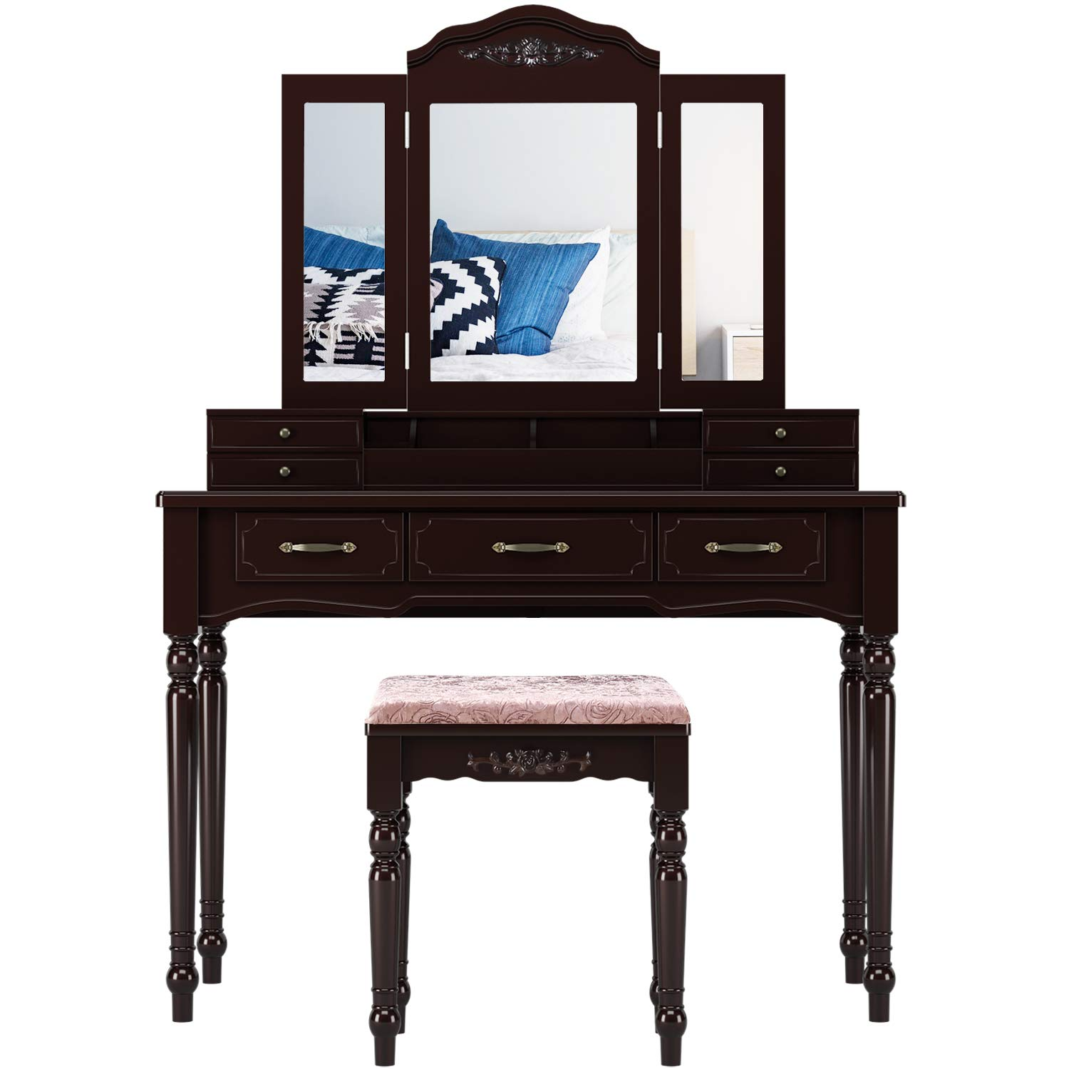HOMECHO Vanity Table Set with 7 Drawers and 4 Makeup Brush Holder, Removable Tri-Folding Mirror and 8 Necklace Hooks with Cushioned Stool Dark Espresso, HMC-MD-010