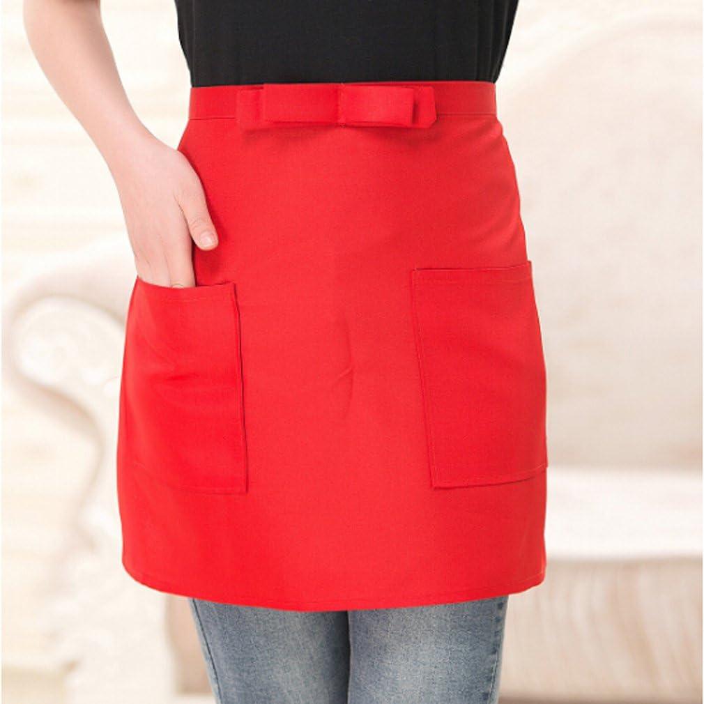 Jixing Demi court Taille Tablier avec Poche de cuisine Chef Tablier de serveur Orange 39*61cm