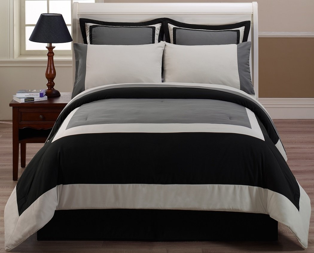 Chezmoi Collection 8-Piece Hotel Bed in a Bag Comforter with Sheet Set, King, Black Gray