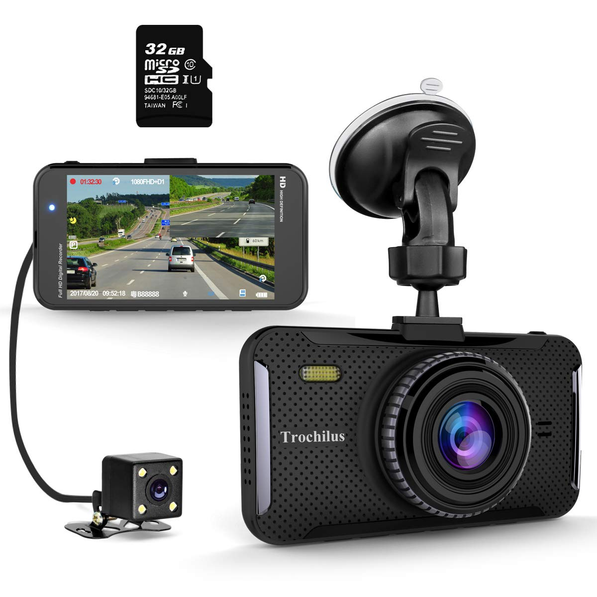Trochilus Dual Dash Cam 4″ 1080P Front and Rear Dash Cams, 170 Degree Wide Angle Car Camera with G-Sensor, WDR, Loop Recording, Parking Monitor, Motion Detection, 32GB SD Card including