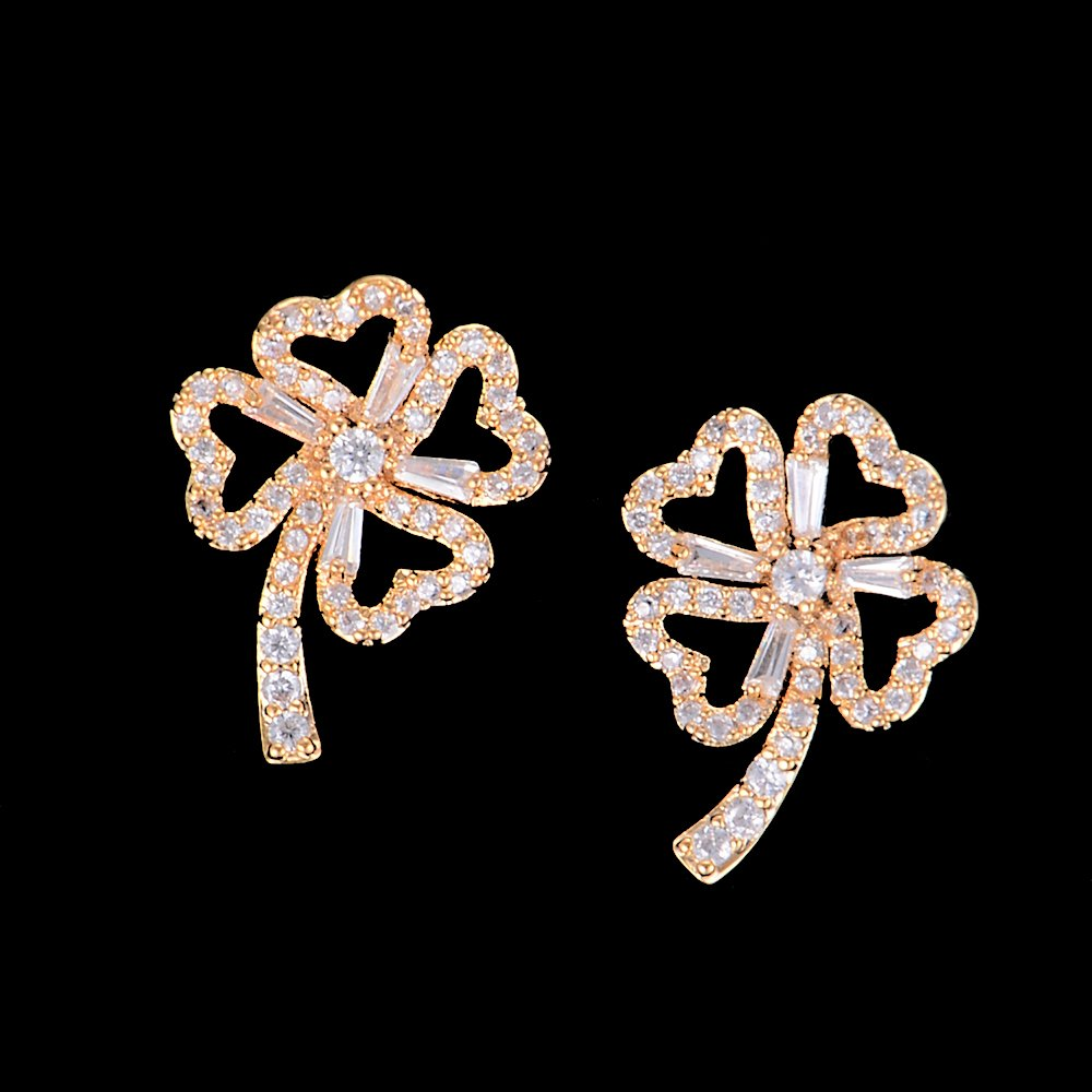 Gold Color Four-leaf Clover Hollow Full CZ Stud Earrings For Bridal Engagement Earrings Jewelry