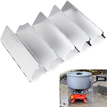 cjixnji Parabrisas de la Estufa de Camping, Parabrisas de Aleación de Aluminio,Placa de Camping al Aire Libre de 10 Placas Cocina Junta Junta Estufa de Gas con Bolsa de Almacenamiento: Amazon.es: Deportes