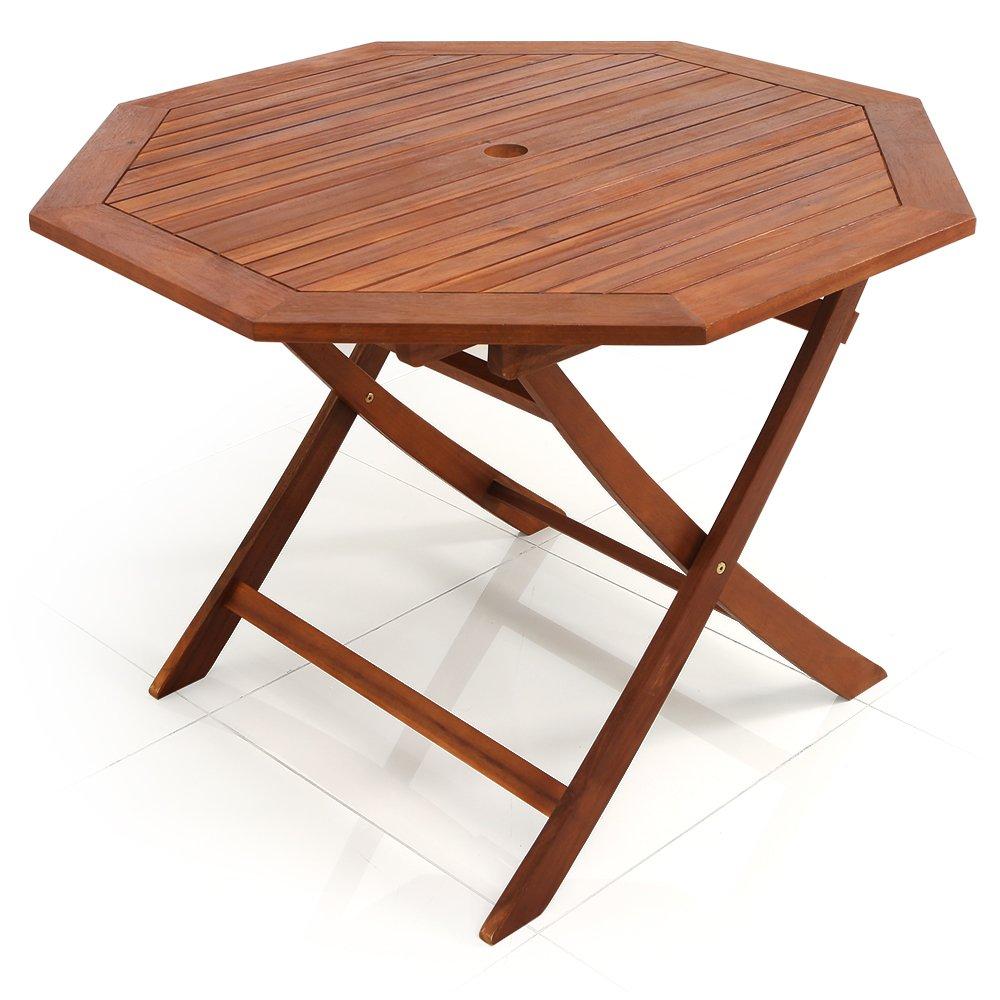 LOWYA (ロウヤ) ガーデン ガーデンテーブル 天然木 アカシア材 木製 テーブル 単品 折り畳み パラソル穴付 2人掛け 八角形 B00V9XL966  【単品】テーブル