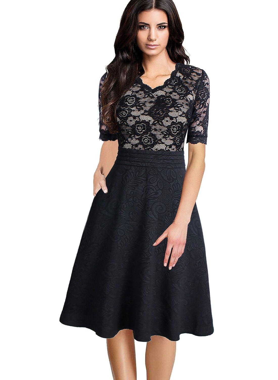 Black Lace VFSHOW Women V Neck Floral Lace Patchwork Pocket Cocktail Party ALine Dress