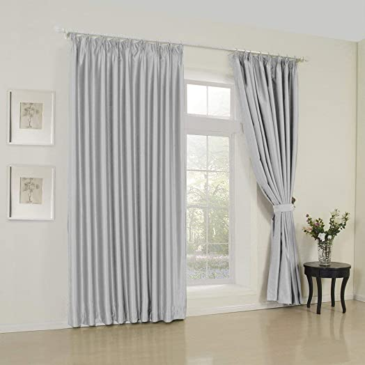 IYUEGO Modern Classic Silver Solid Room Darkening Double Pleated Top Curtains Draperie