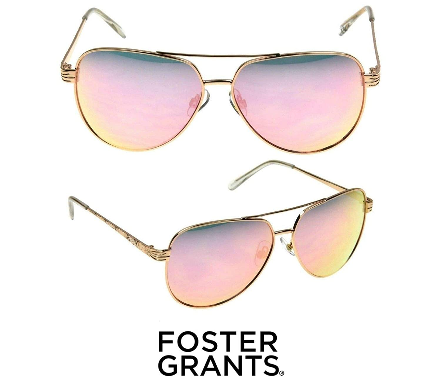 bb263b584 Amazon.com: Foster Grant Women's Aviator 8 Sunglasses for Ladies Rose Gold  Color: Clothing