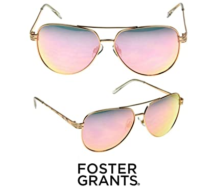 ad0d4e6d3 Image Unavailable. Image not available for. Color: Foster Grant Women's  Aviator 8 Sunglasses for Ladies Rose Gold Color