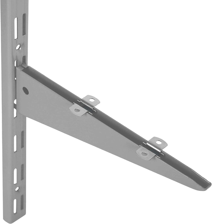 blanc longueur: 50 cm Rail mural /à 2 rang/ées pour /équerres Toolerando Cr/émaill/ère d/étag/ère double perforation