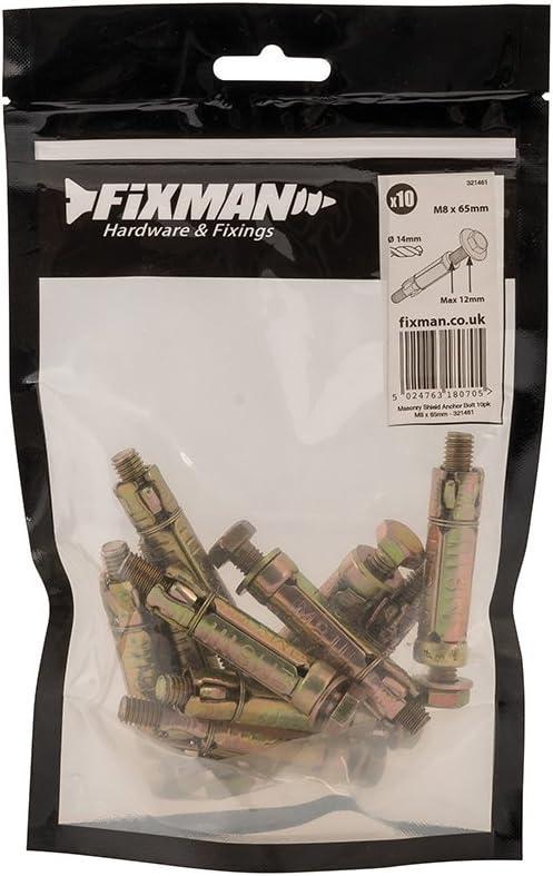 Fixman 321461 Boulons dancrage /à expansion Lot de 10 M8 12 x 65 mm