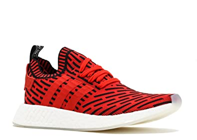 NMD R2 Primeknit Mens in Core Red/Running White by Adidas, 7.5