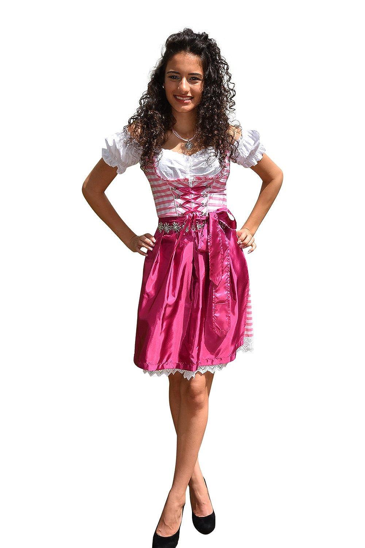 Dirndl Set 3tlg Trachtenkleid 392gt Rosa&Weiß karriert