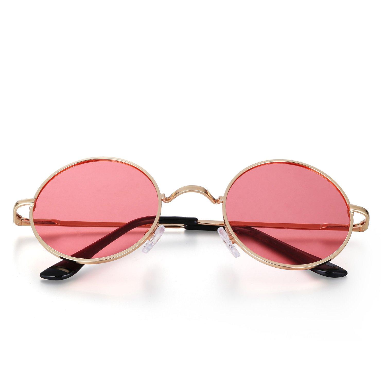 Menton Ezil John Lennon Samll Round Sunglasses Retro Vintage Style Hippy Glasses For Men and Women with Circle Polarized Lens Metal Frame Spring Hinge Lifetime Breakage Guarantee