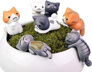 MAOMIA Miniature Lucky Cat DIY Figurines, Pack of 6 Mini Fairy Garden Hanging Cat Figure Micro Landscape Home Garden Decor Plant Pots Bonsai Craft Decor Cake Topper
