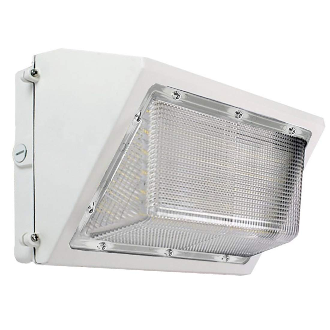 LED White Wall Pack Photo Cell - 60W 5000K Commercial Outdoor Light Fixture, White, (Out-Door Dusk to Dawn Sensor Security Porch Lighting For Industrial Out-Side Photocell)