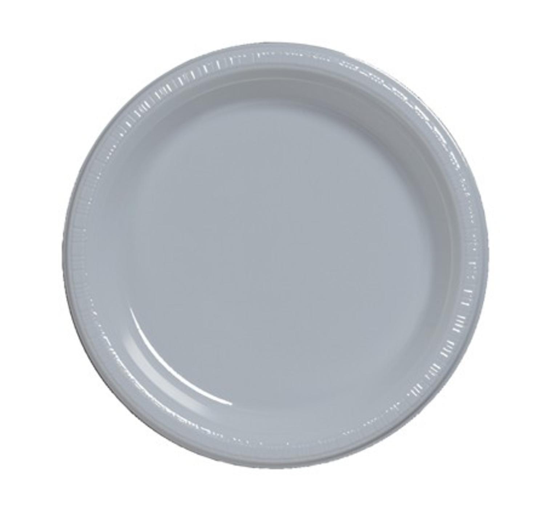 Club 600のパックShimmeringシルバー使い捨てプラスチックパーティーBanquet Dinner Plates 9