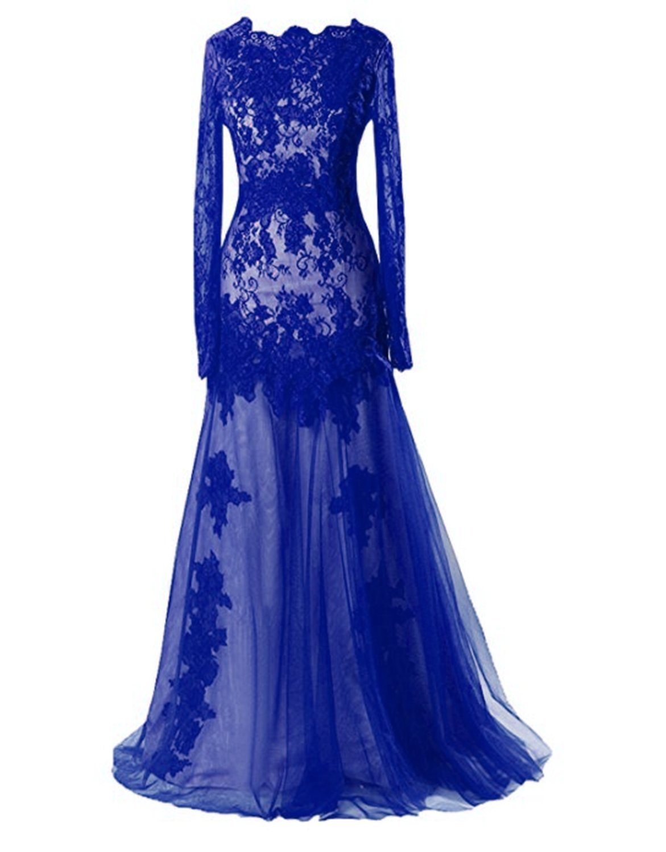 c1a3633c56a1 Home/Brands/Ruiyuhong Dresses/Ruiyuhong Women's Long Royal Blue Lace Formal  Dress Long Sleeve Evening Gown LH459 CS. ; 